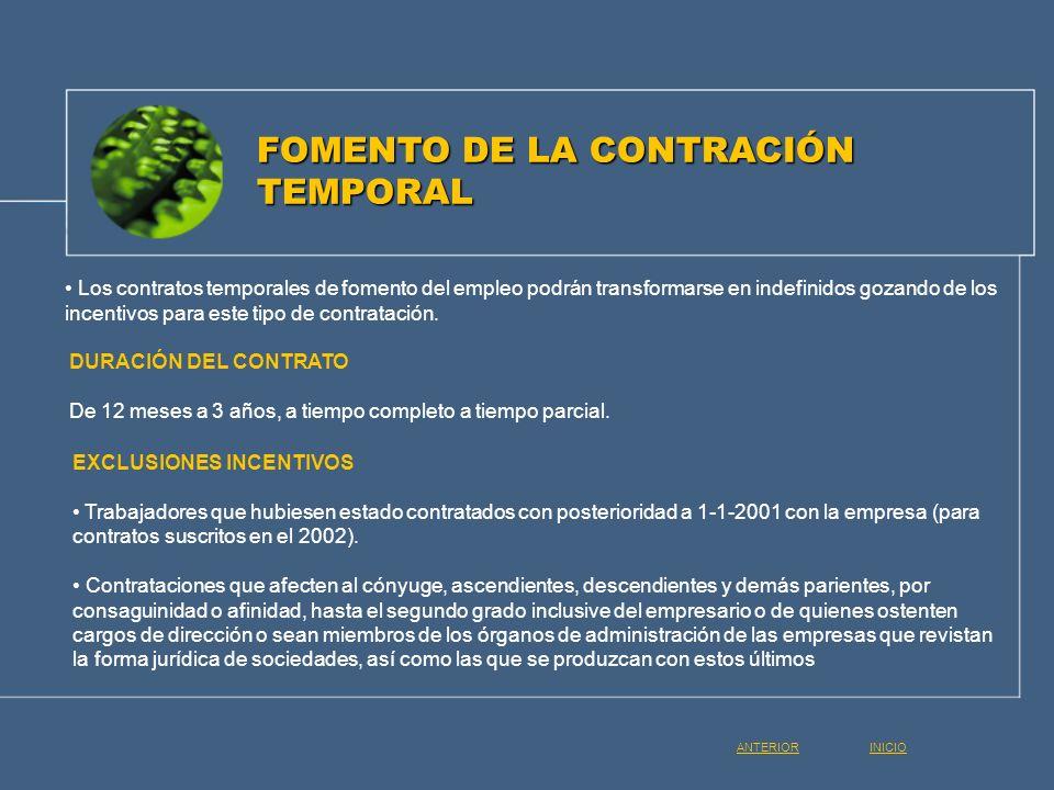Los contratos temporales de fomento del empleo podrán transformarse en indefinidos gozando de los incentivos para este tipo de contratación. FOMENTO D