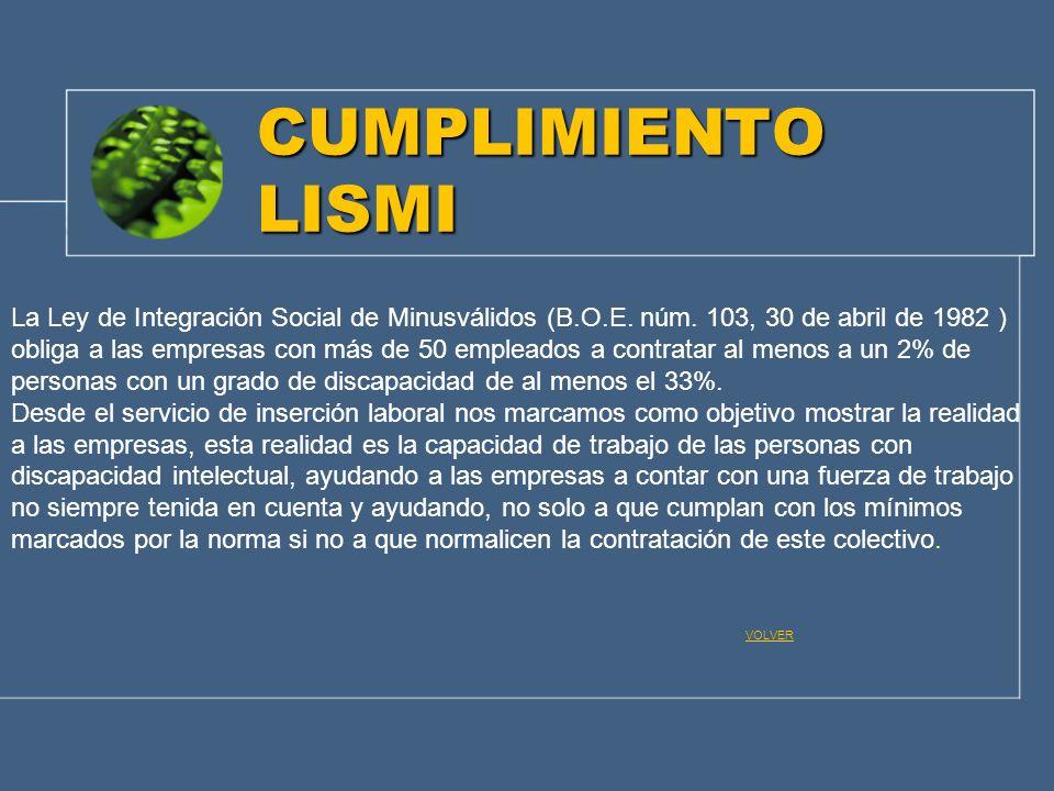 CUMPLIMIENTO LISMI La Ley de Integración Social de Minusválidos (B.O.E. núm. 103, 30 de abril de 1982 ) obliga a las empresas con más de 50 empleados