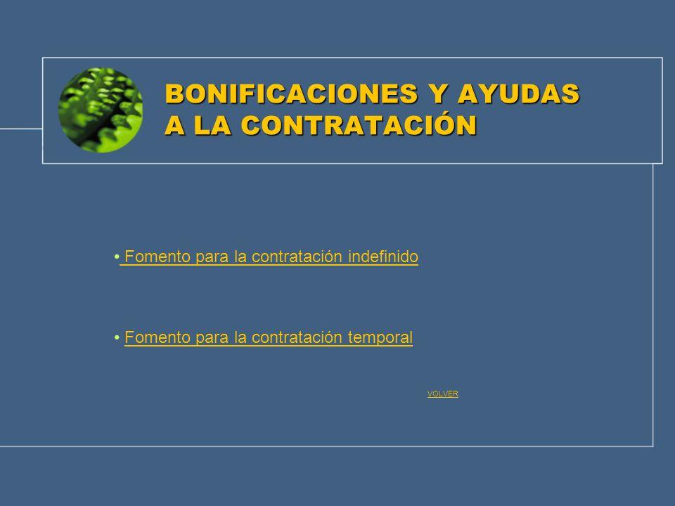 BONIFICACIONES Y AYUDAS A LA CONTRATACIÓN Fomento para la contratación indefinido Fomento para la contratación temporal VOLVER
