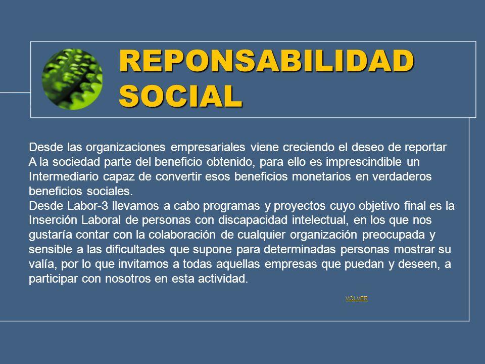 REPONSABILIDAD SOCIAL Desde las organizaciones empresariales viene creciendo el deseo de reportar A la sociedad parte del beneficio obtenido, para ell