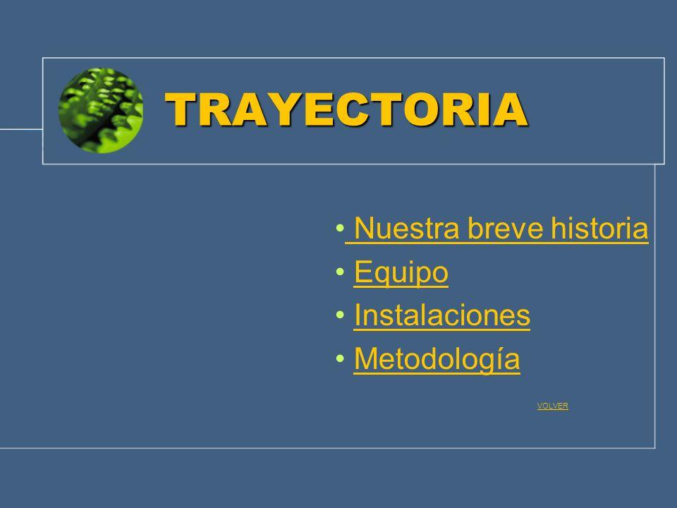 TRAYECTORIA Nuestra breve historia Equipo Instalaciones Metodología VOLVER