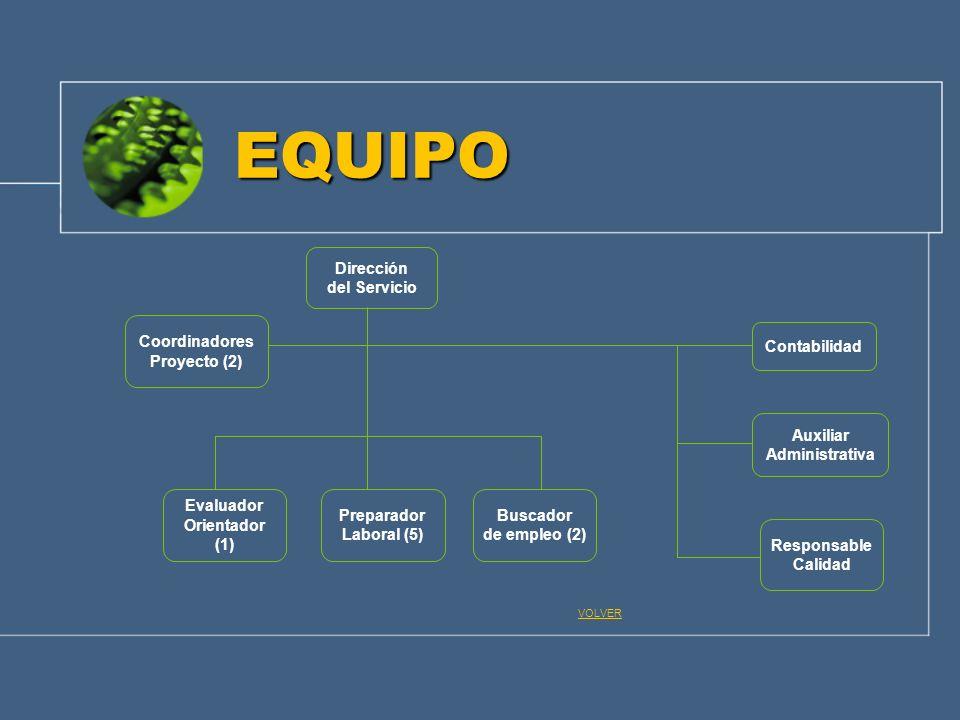 EQUIPO Dirección del Servicio Responsable Calidad Preparador Laboral (5) Buscador de empleo (2) Evaluador Orientador (1) Auxiliar Administrativa Conta