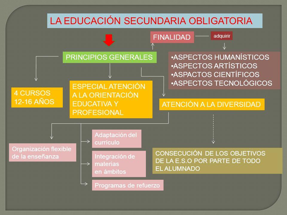 LA EDUCACIÓN SECUNDARIA OBLIGATORIA PRINCIPIOS GENERALES ESPECIAL ATENCIÓN A LA ORIENTACIÓN EDUCATIVA Y PROFESIONAL 4 CURSOS 12-16 AÑOS ATENCIÓN A LA