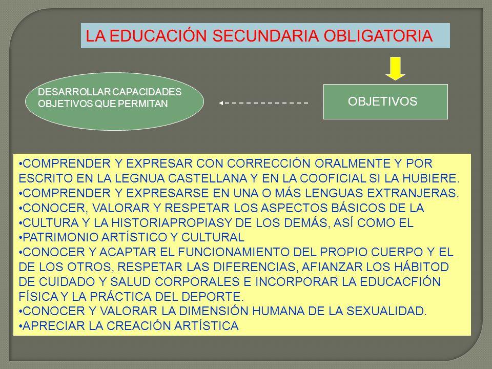 LA EDUCACIÓN SECUNDARIA OBLIGATORIA DESARROLLAR CAPACIDADES OBJETIVOS QUE PERMITAN OBJETIVOS COMPRENDER Y EXPRESAR CON CORRECCIÓN ORALMENTE Y POR ESCR