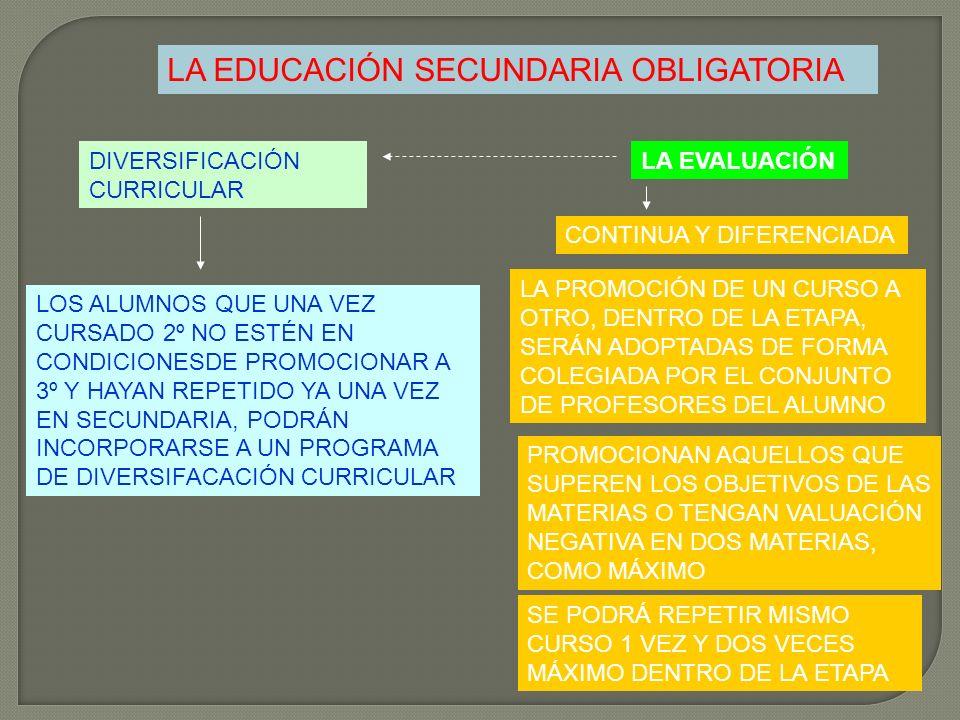 LA EDUCACIÓN SECUNDARIA OBLIGATORIA LA EVALUACIÓN CONTINUA Y DIFERENCIADA LA PROMOCIÓN DE UN CURSO A OTRO, DENTRO DE LA ETAPA, SERÁN ADOPTADAS DE FORM