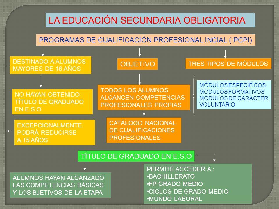 LA EDUCACIÓN SECUNDARIA OBLIGATORIA PROGRAMAS DE CUALIFICACIÓN PROFESIONAL INCIAL ( PCPI) DESTINADO A ALUMNOS MAYORES DE 16 AÑOS NO HAYAN OBTENIDO TÍT