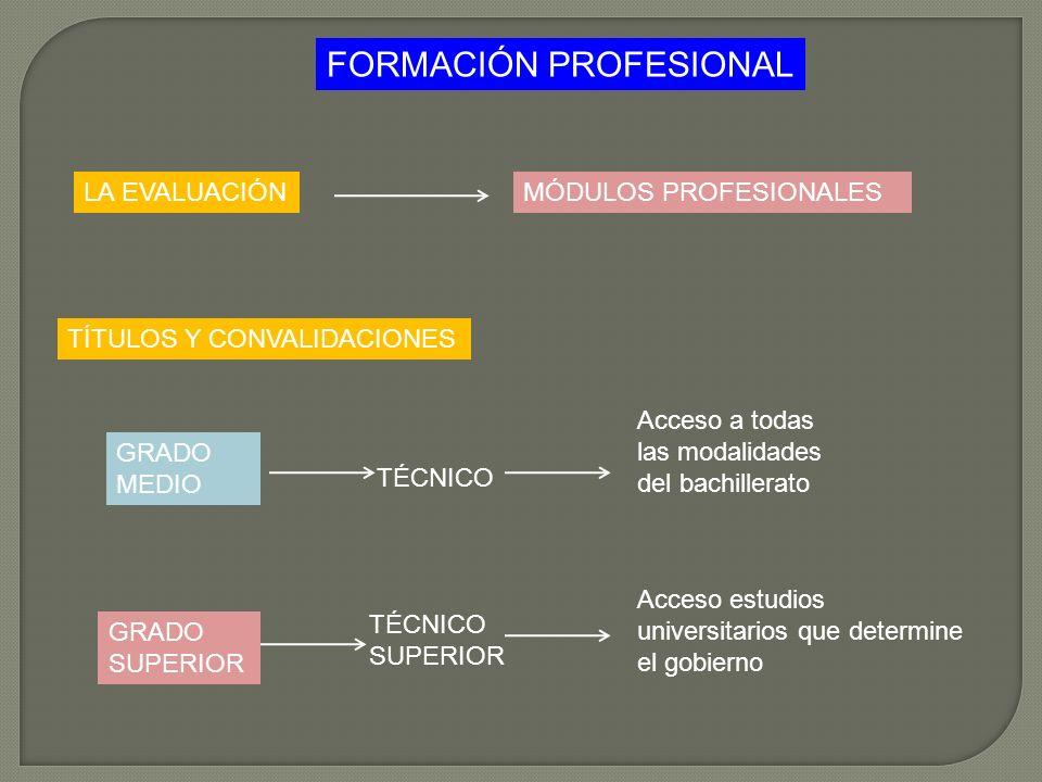 LA EVALUACIÓN FORMACIÓN PROFESIONAL TÍTULOS Y CONVALIDACIONES MÓDULOS PROFESIONALES GRADO MEDIO GRADO SUPERIOR Acceso a todas las modalidades del bach