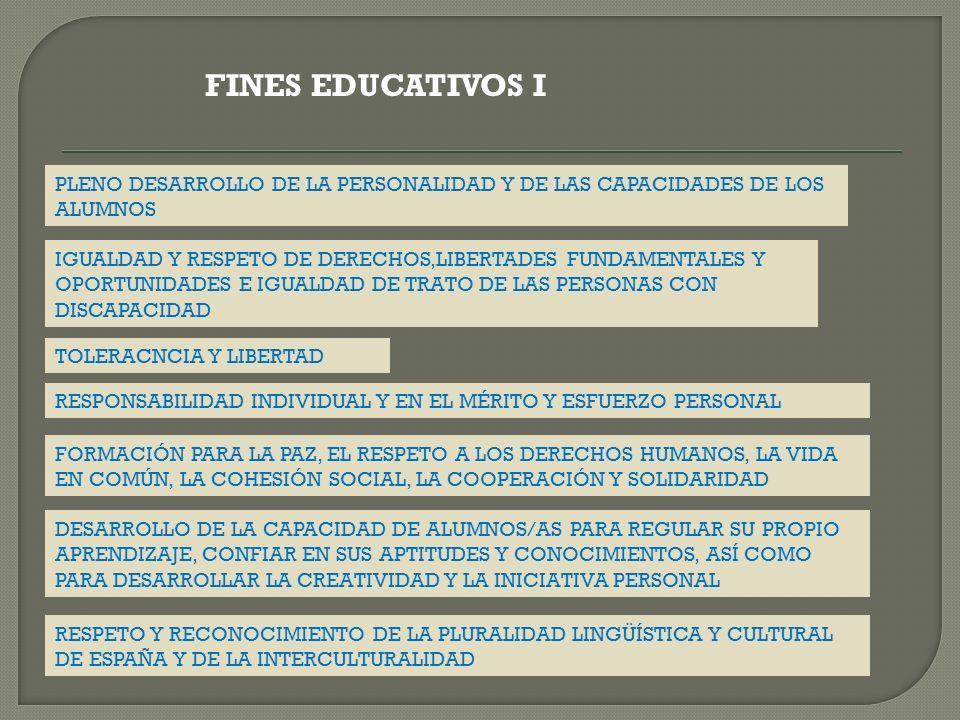 FINES EDUCATIVOS I PLENO DESARROLLO DE LA PERSONALIDAD Y DE LAS CAPACIDADES DE LOS ALUMNOS IGUALDAD Y RESPETO DE DERECHOS,LIBERTADES FUNDAMENTALES Y O