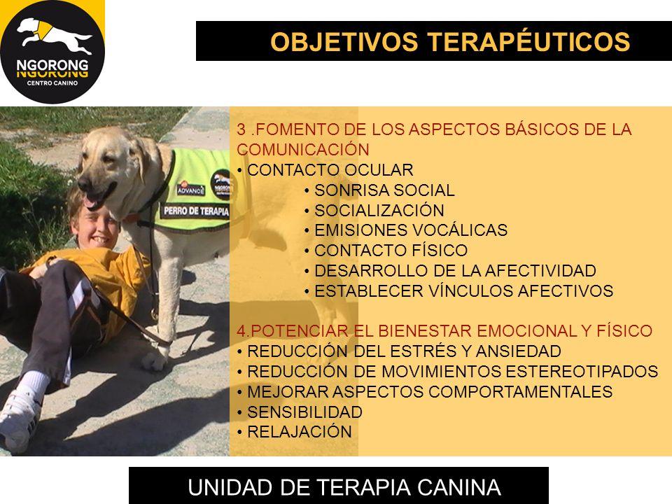 UNIDAD DE TERAPIA CANINA 3.FOMENTO DE LOS ASPECTOS BÁSICOS DE LA COMUNICACIÓN CONTACTO OCULAR SONRISA SOCIAL SOCIALIZACIÓN EMISIONES VOCÁLICAS CONTACT