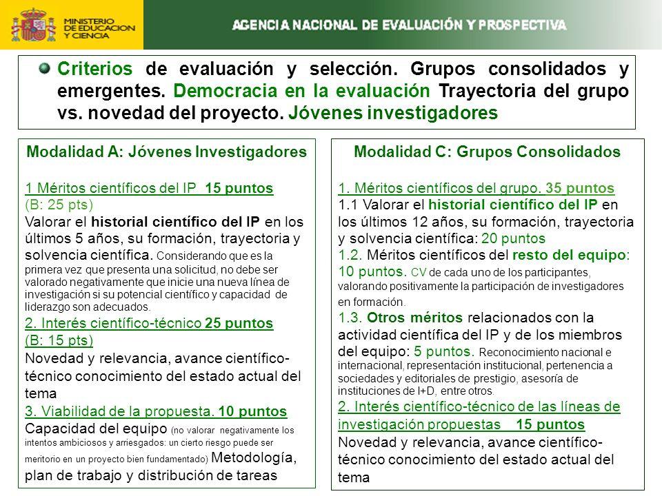 Criterios de evaluación y selección. Grupos consolidados y emergentes.