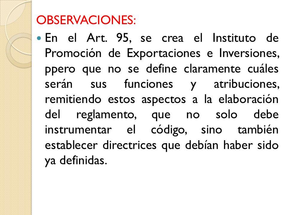 OBSERVACIONES: En el Art.