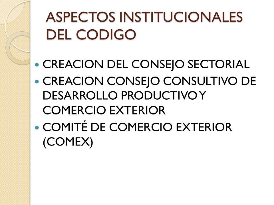 ASPECTOS INSTITUCIONALES DEL CODIGO CREACION DEL CONSEJO SECTORIAL CREACION CONSEJO CONSULTIVO DE DESARROLLO PRODUCTIVO Y COMERCIO EXTERIOR COMITÉ DE COMERCIO EXTERIOR (COMEX)