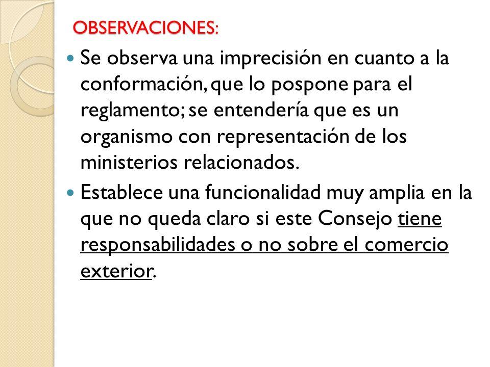 OBSERVACIONES: Se observa una imprecisión en cuanto a la conformación, que lo pospone para el reglamento; se entendería que es un organismo con representación de los ministerios relacionados.