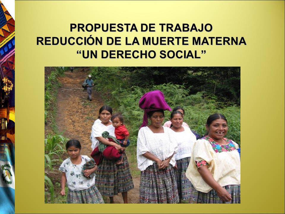 PROPUESTA DE TRABAJO REDUCCIÓN DE LA MUERTE MATERNA UN DERECHO SOCIAL
