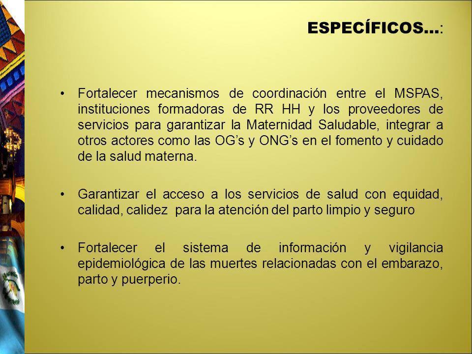 ESPECÍFICOS… : Fortalecer mecanismos de coordinación entre el MSPAS, instituciones formadoras de RR HH y los proveedores de servicios para garantizar