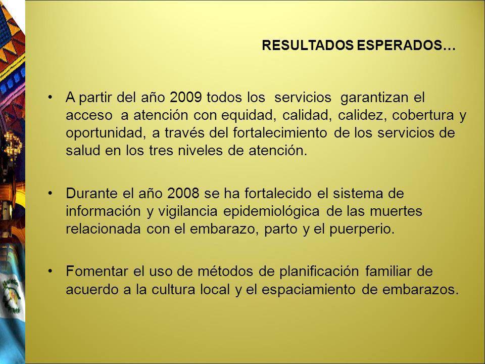 RESULTADOS ESPERADOS… A partir del año 2009 todos los servicios garantizan el acceso a atención con equidad, calidad, calidez, cobertura y oportunidad