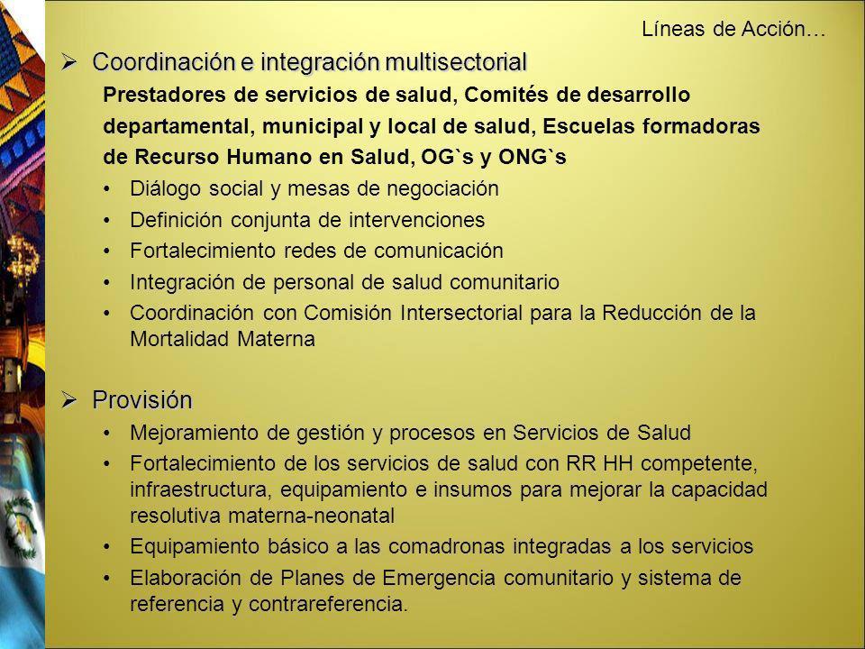 Coordinación e integración multisectorial Coordinación e integración multisectorial Prestadores de servicios de salud, Comités de desarrollo departame