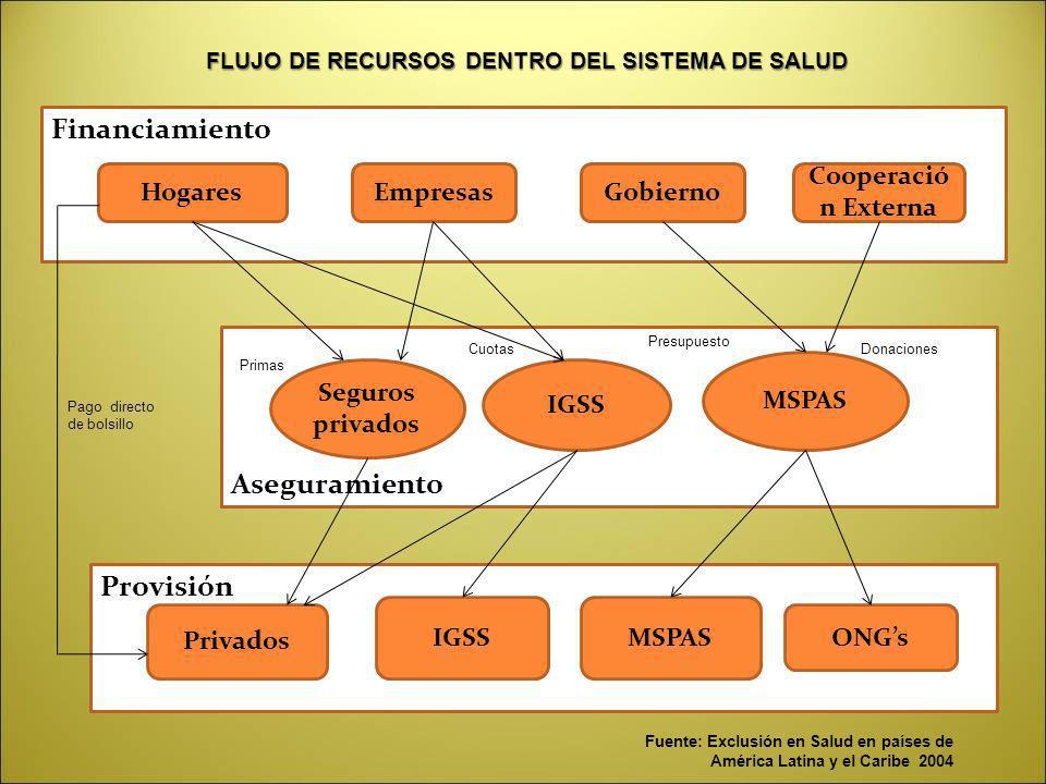 Financiamiento Aseguramiento Provisión HogaresEmpresasGobierno Cooperació n Externa IGSS MSPAS Seguros privados Privados IGSSMSPAS ONGs Pago directo d