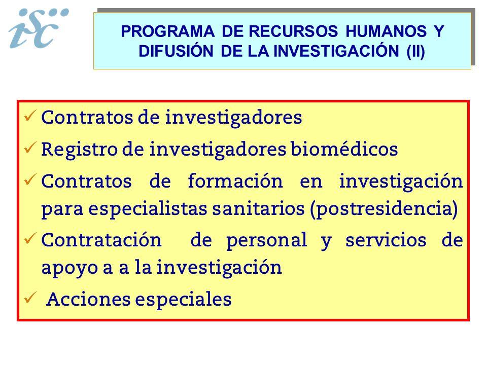 PROGRAMA DE RECURSOS HUMANOS Y DIFUSIÓN DE LA INVESTIGACIÓN (II) Contratos de investigadores Registro de investigadores biomédicos Contratos de formac