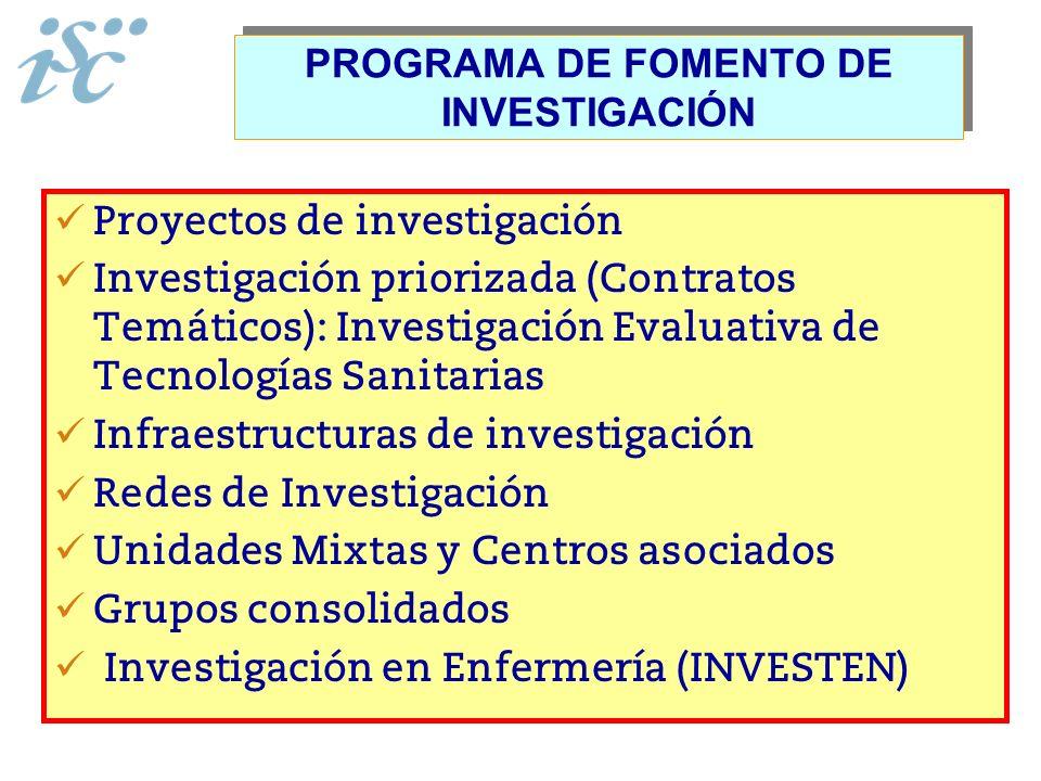 PROGRAMA DE FOMENTO DE INVESTIGACIÓN Proyectos de investigación Investigación priorizada (Contratos Temáticos): Investigación Evaluativa de Tecnología
