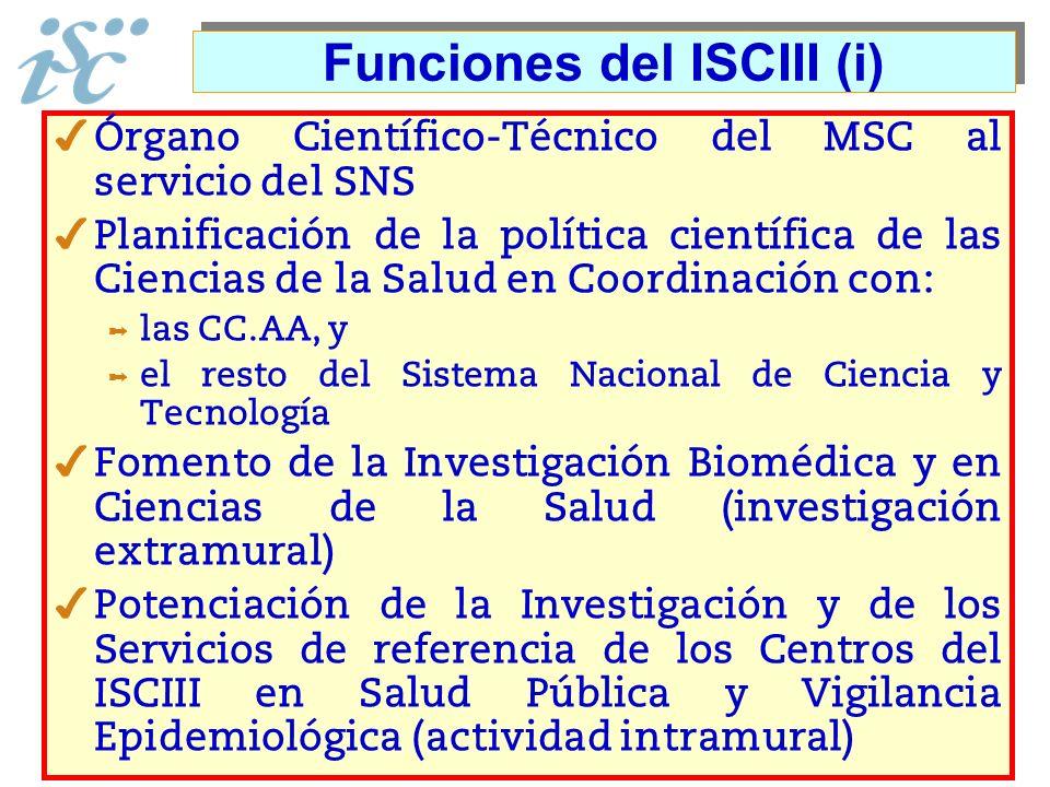 Funciones del ISCIII (i) Órgano Científico-Técnico del MSC al servicio del SNS Planificación de la política científica de las Ciencias de la Salud en