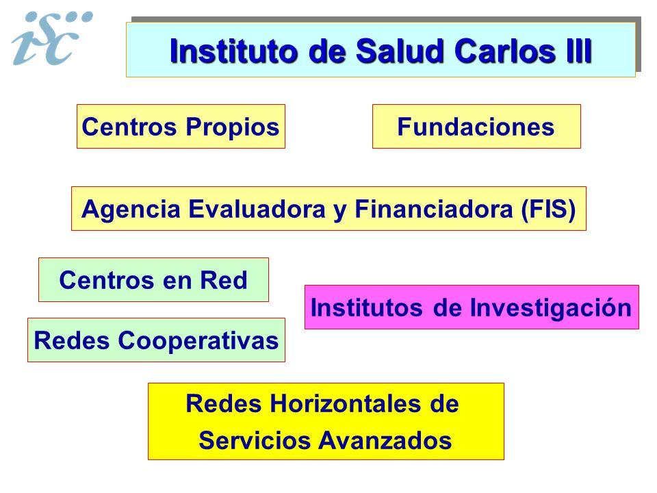 Instituto de Salud Carlos III Institutos de Investigación Centros en Red Redes Horizontales de Servicios Avanzados Centros PropiosFundaciones Agencia