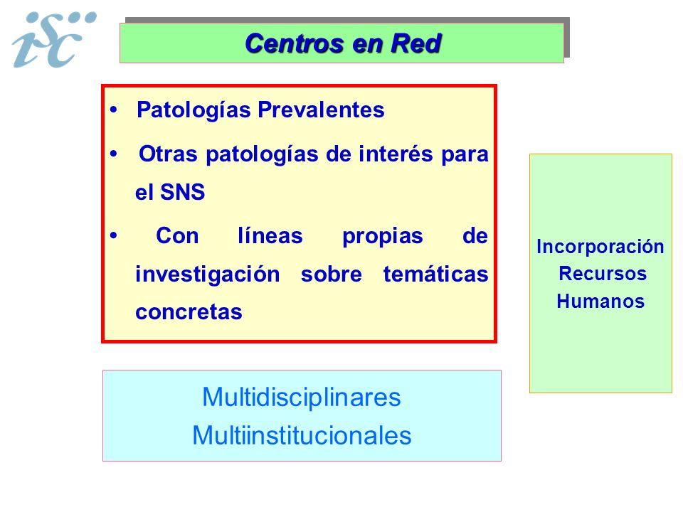 Patologías Prevalentes Otras patologías de interés para el SNS Con líneas propias de investigación sobre temáticas concretas Centros en Red Multidisci