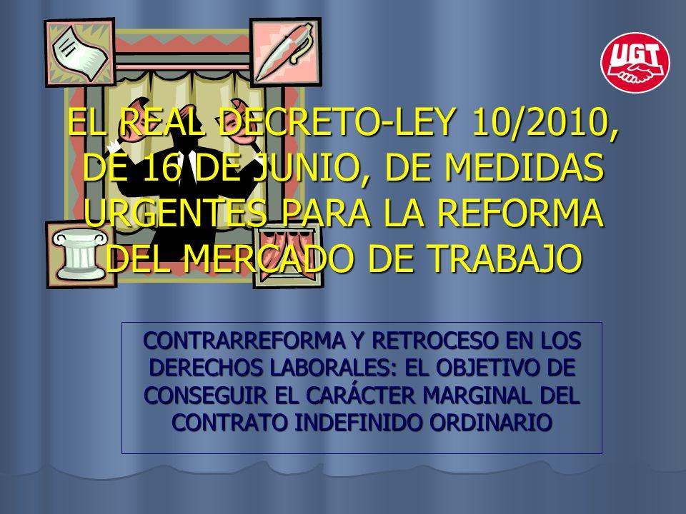 EL REAL DECRETO-LEY 10/2010, DE 16 DE JUNIO, DE MEDIDAS URGENTES PARA LA REFORMA DEL MERCADO DE TRABAJO CONTRARREFORMA Y RETROCESO EN LOS DERECHOS LAB