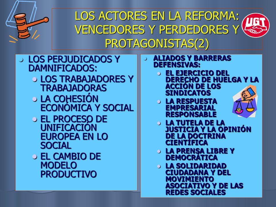 LOS ACTORES EN LA REFORMA: VENCEDORES Y PERDEDORES Y PROTAGONISTAS(2) LOS PERJUDICADOS Y DAMNIFICADOS: LOS PERJUDICADOS Y DAMNIFICADOS: LOS TRABAJADOR