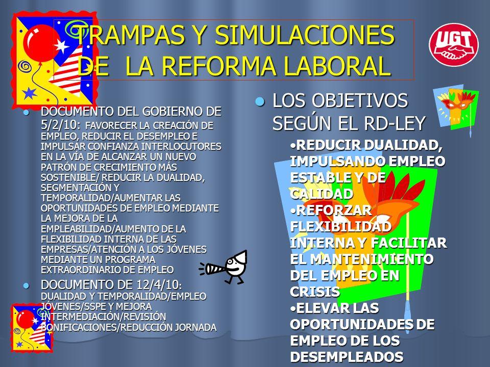 TRAMPAS Y SIMULACIONES DE LA REFORMA LABORAL LOS OBJETIVOS SEGÚN EL RD-LEY LOS OBJETIVOS SEGÚN EL RD-LEY REDUCIR DUALIDAD, IMPULSANDO EMPLEO ESTABLE Y