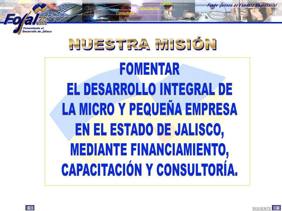 SIGUIENTEANTERIOR Consultoría Crédito Capacitación Es un Fideicomiso Constituido el 18 Junio 1985 El Fideicomitente Gobierno del Estado de Jalisco La Fiduciaria Nacional Financiera S.N.C.