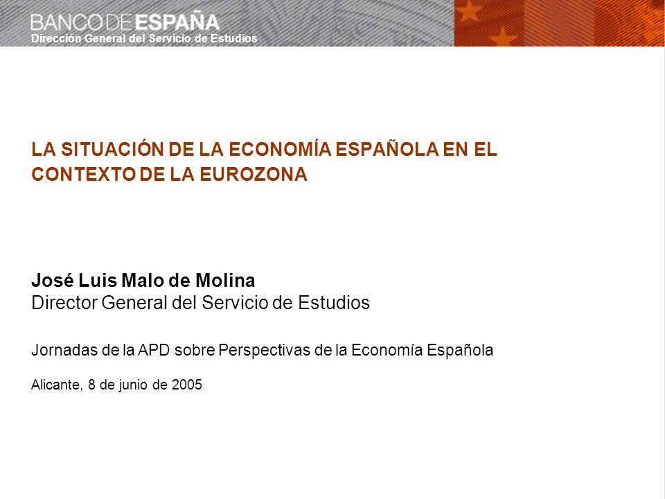 Dirección General del Servicio de Estudios LA SITUACIÓN DE LA ECONOMÍA ESPAÑOLA EN EL CONTEXTO DE LA EUROZONA José Luis Malo de Molina Director General del Servicio de Estudios Jornadas de la APD sobre Perspectivas de la Economía Española Alicante, 8 de junio de 2005