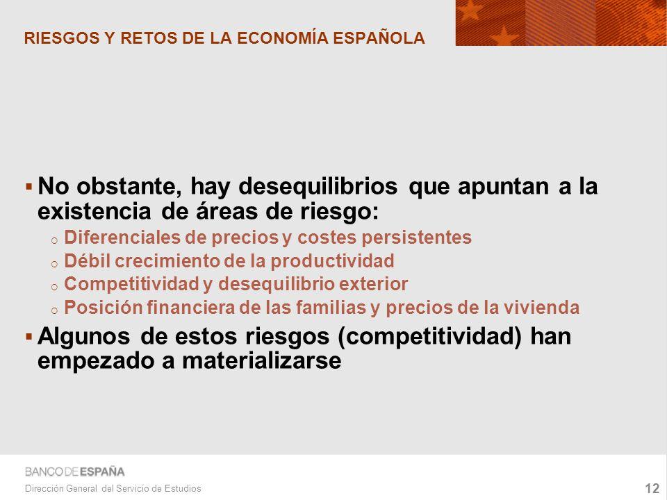 12 Dirección General del Servicio de Estudios RIESGOS Y RETOS DE LA ECONOMÍA ESPAÑOLA No obstante, hay desequilibrios que apuntan a la existencia de áreas de riesgo: Diferenciales de precios y costes persistentes Débil crecimiento de la productividad Competitividad y desequilibrio exterior Posición financiera de las familias y precios de la vivienda Algunos de estos riesgos (competitividad) han empezado a materializarse
