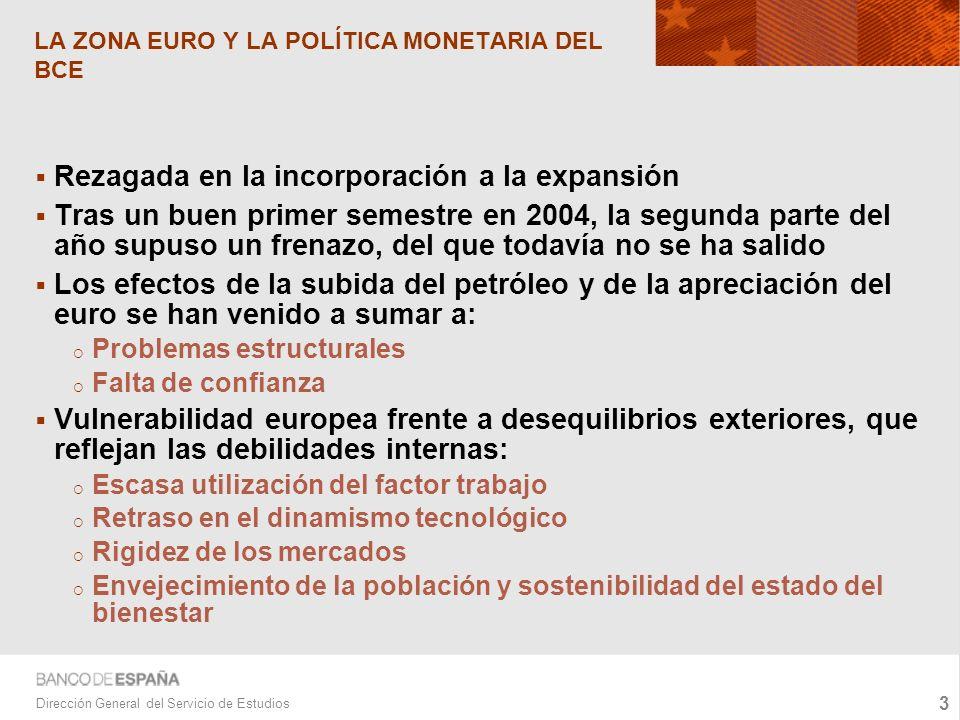 4 Dirección General del Servicio de Estudios LA ZONA EURO Y LA POLÍTICA MONETARIA DEL BCE Los datos del inicio de 2005 no muestran signos de mejora significativa.