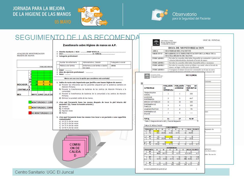 SEGUIMIENTO DE LAS RECOMENDACIONES Centro Sanitario: UGC El Juncal COMISI ON DE CALIDA D