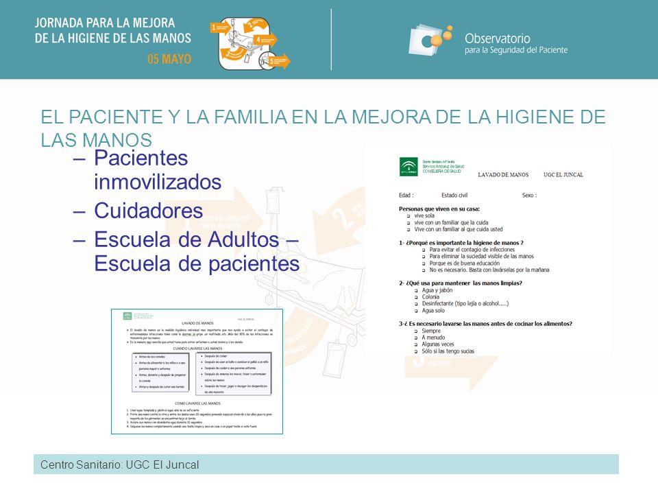RESULTADOS ALCANZADOS Centro Sanitario UGC El Juncal: Detección de circuitos aberrantes Instauración de rutinas Monitorización e implicación de personas Elaboración de materiales específicos.
