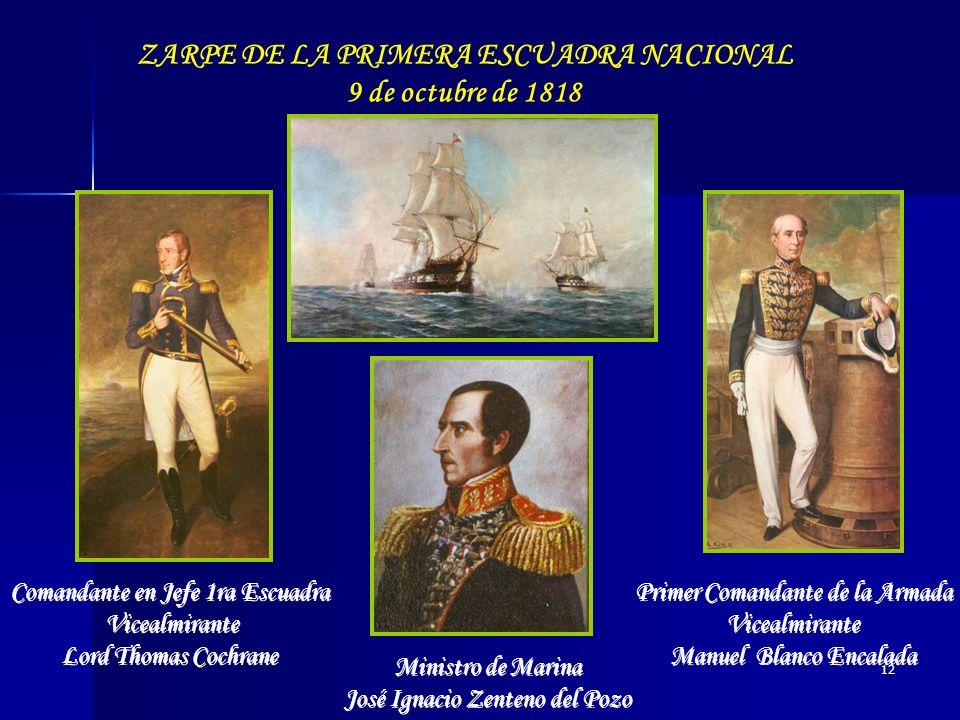 12 Ministro de Marina José Ignacio Zenteno del Pozo Primer Comandante de la Armada Vicealmirante Manuel Blanco Encalada Primer Comandante de la Armada
