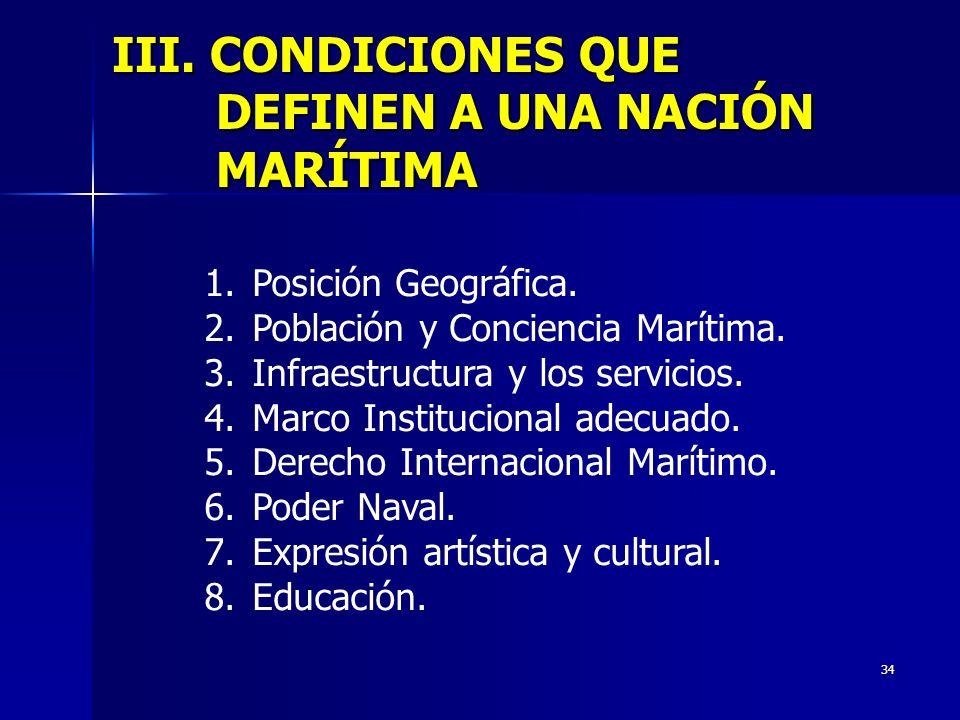 34 III. CONDICIONES QUE DEFINEN A UNA NACIÓN MARÍTIMA 1. Posición Geográfica. 2. Población y Conciencia Marítima. 3. Infraestructura y los servicios.