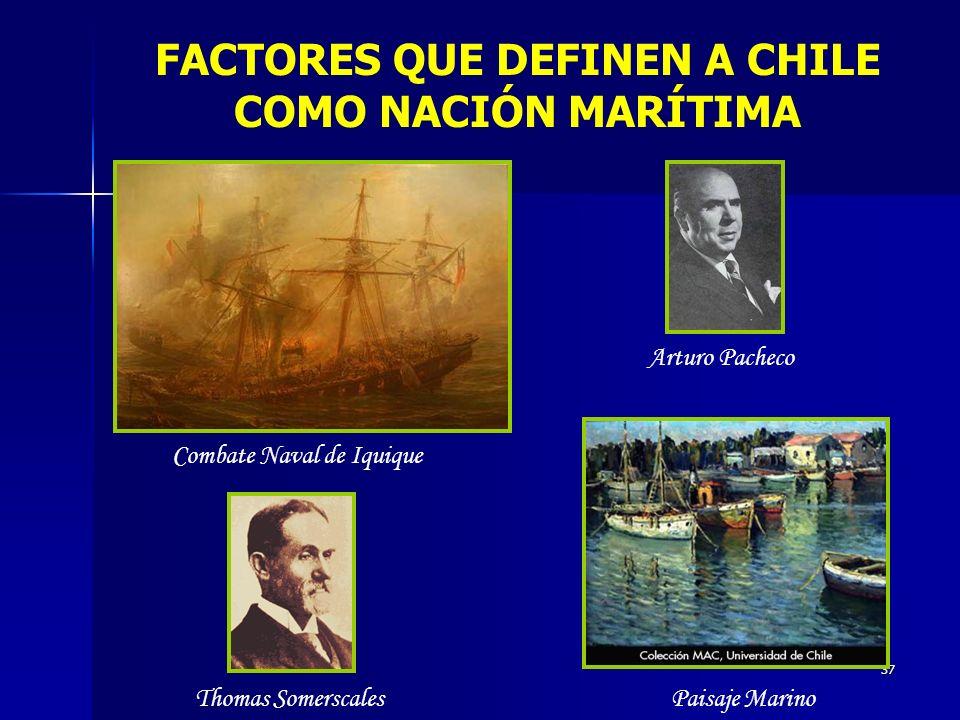 37 FACTORES QUE DEFINEN A CHILE COMO NACIÓN MARÍTIMA Combate Naval de Iquique Thomas Somerscales Arturo Pacheco Paisaje Marino