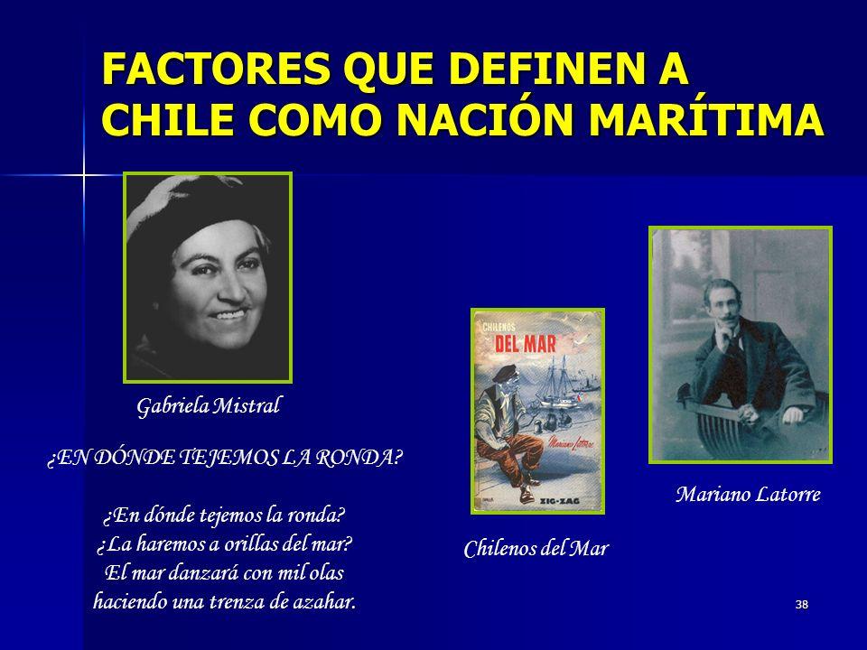 38 FACTORES QUE DEFINEN A CHILE COMO NACIÓN MARÍTIMA ¿EN DÓNDE TEJEMOS LA RONDA? ¿En dónde tejemos la ronda? ¿La haremos a orillas del mar? El mar dan