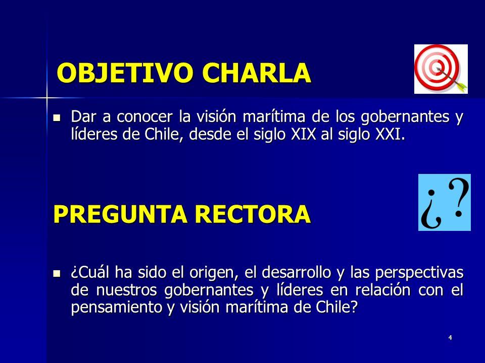 4 OBJETIVO CHARLA Dar a conocer la visión marítima de los gobernantes y líderes de Chile, desde el siglo XIX al siglo XXI. Dar a conocer la visión mar