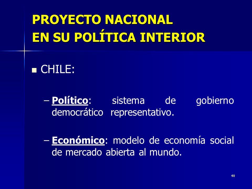 40 PROYECTO NACIONAL EN SU POLÍTICA INTERIOR CHILE: – –Político: sistema de gobierno democrático representativo. – –Económico: modelo de economía soci