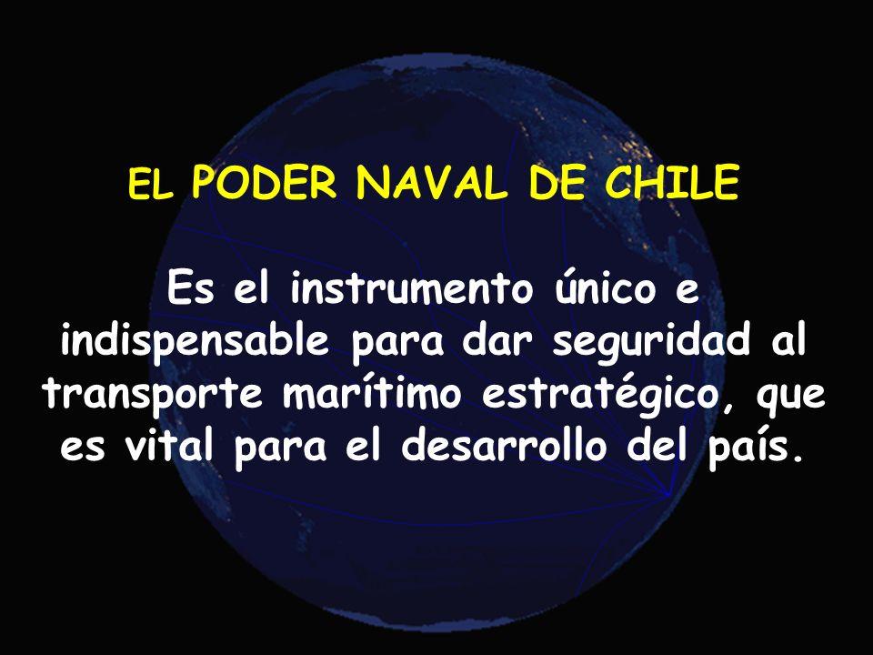 45 EL PODER NAVAL DE CHILE Es el instrumento único e indispensable para dar seguridad al transporte marítimo estratégico, que es vital para el desarro