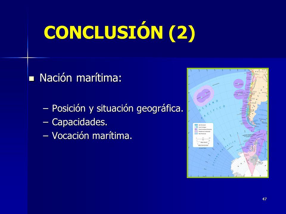 47 CONCLUSIÓN (2) Nación marítima: Nación marítima: –Posición y situación geográfica. –Capacidades. –Vocación marítima.