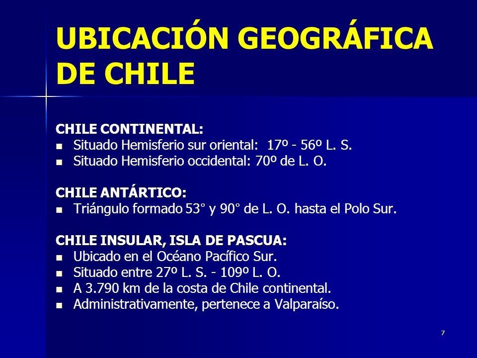 7 UBICACIÓN GEOGRÁFICA DE CHILE CHILE CONTINENTAL: Situado Hemisferio sur oriental: 17º - 56º L. S. Situado Hemisferio occidental: 70º de L. O. CHILE