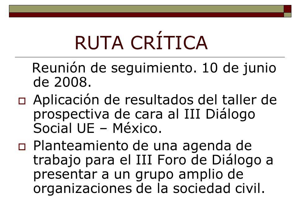RUTA CRÍTICA Reunión de seguimiento. 10 de junio de 2008.
