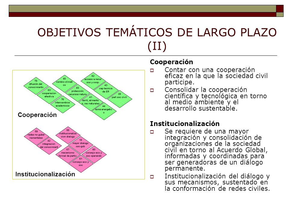 OBJETIVOS TEMÁTICOS DE LARGO PLAZO (II) Cooperación Contar con una cooperación eficaz en la que la sociedad civil participe.