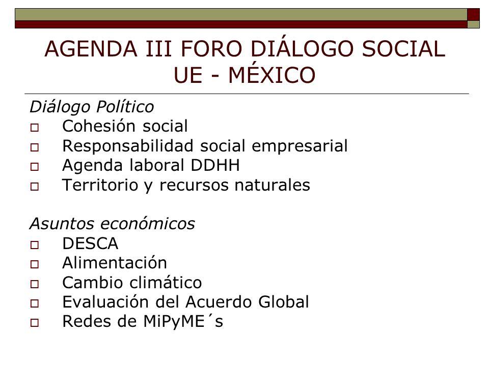 AGENDA III FORO DIÁLOGO SOCIAL UE - MÉXICO Diálogo Político Cohesión social Responsabilidad social empresarial Agenda laboral DDHH Territorio y recursos naturales Asuntos económicos DESCA Alimentación Cambio climático Evaluación del Acuerdo Global Redes de MiPyME´s