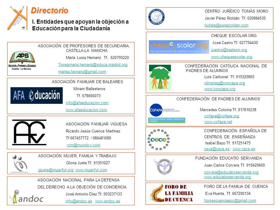 ASOCIACIÓN FAMILIAR DE BALEARES Miriam Ballesteros Tf. 678666073 info@afaeducacion.com www.afaeducacion.com ASOCIACIÓN FAMILIAR VIGUESA Ricardo Jesús