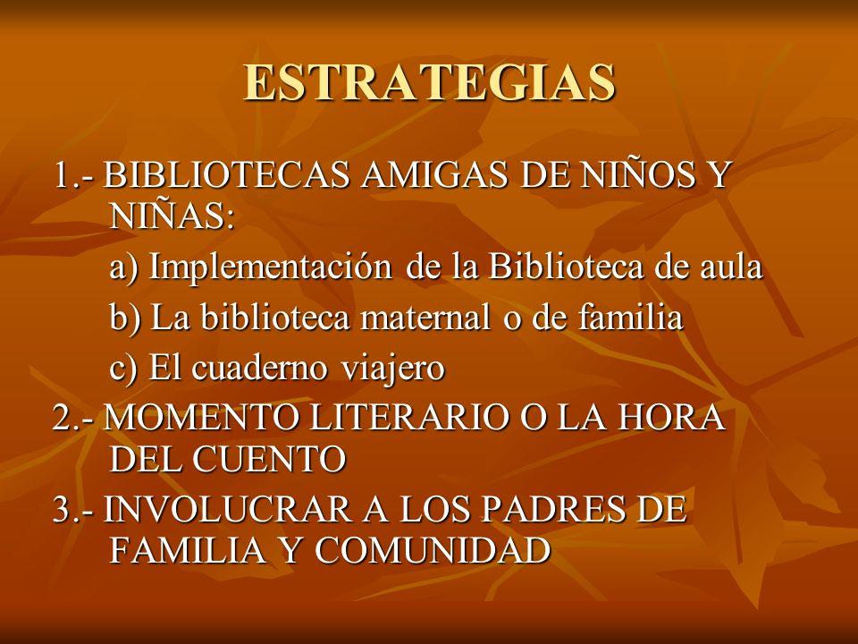 ESTRATEGIAS 1.- BIBLIOTECAS AMIGAS DE NIÑOS Y NIÑAS: a) Implementación de la Biblioteca de aula a) Implementación de la Biblioteca de aula b) La bibli